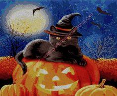 Gráfico a punto de cruz - Halloween 54 x 45 cm Halloween, Painting, Art, Bruges, Mermaids, Faeries, Crocheting, Dots, Art Background