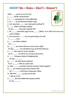 INSERT Do + Does + Don't + Doesn't worksheet - Free ESL printable worksheets made by teachers English Grammar For Kids, Teaching English Grammar, English Worksheets For Kids, English Lessons For Kids, English Vocabulary Words, Grammar Lessons, Learn English Words, English Language Learning, French Lessons