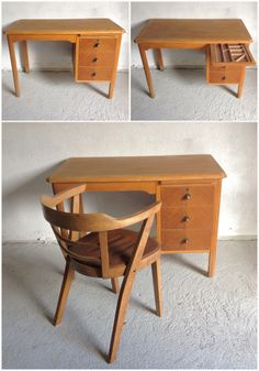 An interesting 1950's solid oak clerks desk, and side chair. The desk is a nice compact size, with a handy pull out stationary tray, t...