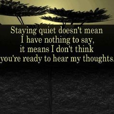 Staying quiet doesn't mean I have nothing to say, it means I don't think you're ready to hear my thoughts. - Author Unknown