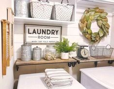 65 Modern Farmhouse Laundry Room Decor Ideas - Page 63 of 65 - Septimio Decor Obtain great pointers on laundry room storage small spaces. They are on call for you on our web site. Rustic Laundry Rooms, Laundry Decor, Farmhouse Laundry Room, Laundry Room Design, Laundry Room Decorations, Laundry Closet, Laundry Room Organization, Small Laundry, Laundry In Bathroom