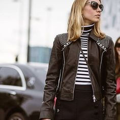 An elevated biker jacket is a fall essential, follow the lead of fashion week's most-stylish and pair with a Breton-style turtleneck. #streetstyle by theurbanspotter