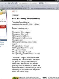 Pizza Hut's Creamy Italian Dressing