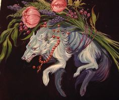 Lupine | By Audra Auclair [Painting - Art - Floral - Wolf - Gouache - Popart]