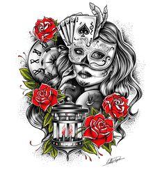 Masked girl tattoo. Cards tattoo. Clock tattoo. Lamp tattoo. Colour.