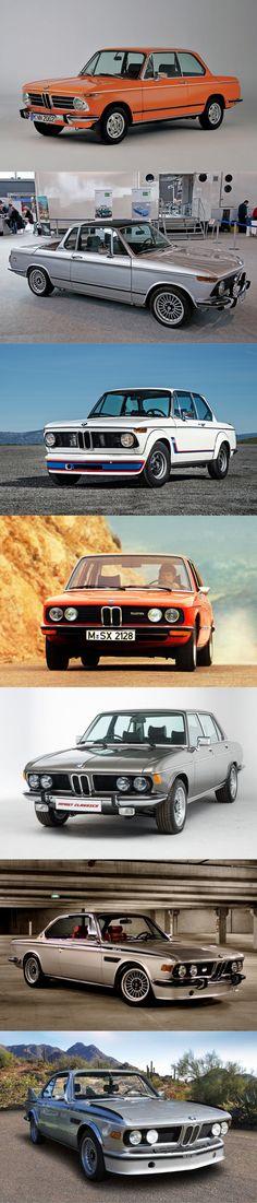 1973 BMW line-up: 2002 tii / 2002 Baur / 2002 Turbo / E12 5-serie / E3 / E9 CS / E9 CSL / Germany