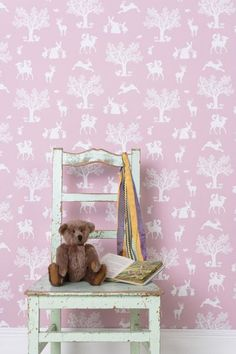 Enchanted Wood Wallpaper - White on peony pink