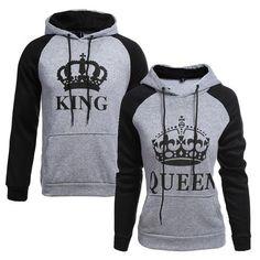 d7a26d01e0d Men Hoodies King Queen Printed Sweatshirt Lovers Couples Hoodie Hooded  Sweatshirt Casual Pullovers Tracksuits