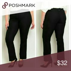 Arrivederci Jet Black Pants Fabric: 76% RAYON 21% NYLON 3% SPANDEX  These stretch knit slacks feature a mid rise waist and has a double button closure with zip fly. Pants