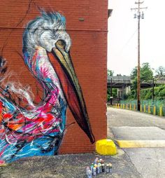 Beautiful & Colorful Graffiti Birds on the Streets of Brazil by Luis Seven Martins aka L7m. |CutPasteStudio| Illustrations,Entertainment, beautiful, Artist, nature, World, drawings, paintings, Art, Creativity, Artwork, World, street art, graffiti art, murals, birds paintings.