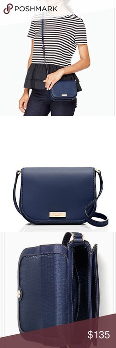 """Kate Spade Newbury Lane Carsen Kate Spade's Newbury Lane Carsen is the perfect on the go cross-body. Crafted of saffiano finished leather with polished 14-karat light gold plated hardware. The interior is lined in custom Capital Kate logo printed fabric and features a front open slip compartment, and an open slip pocket within the main compartment. A single, adjustable leather strap has a drop ranging from 20.5 to 22.5 inches. This compact gem measures just 7""""(L) x 5.5"""" (H) x 2.25""""(W)…"""