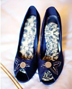 blue heeled wedding shoes