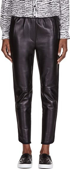 3.1 Phillip Lim black cropped leather trousers pants | reg $1295, sale $388