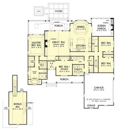 First Floor Plan, New House Plan Design #1351: Now Available