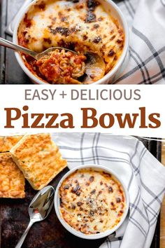 Easy Pizza Bowls – A crustless pizza in a bowl with all of your favorite toppings. Bakes up in less than 5 minutes and is perfect for the whole family. #recipes #dinner #lunch #lowcarb Dinner Recipes Easy Quick, Supper Recipes, Entree Recipes, Pizza Recipes, Quick Easy Meals, Low Carb Recipes, Lunch Ideas, Dinner Ideas, Pizza Bowl