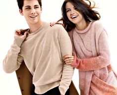 Logan lerman and selena gomez, she is also very pretty. They both look so happy