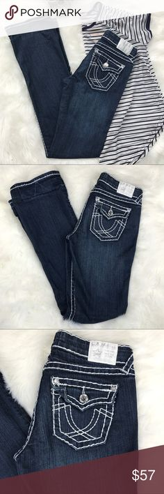 Dark wash distressed bling pocket boot cut jeans New With Tags .        LA IDOL brand jeans . Deep blue wash . Large white stitching . Seriously BA pair of jeans ! Jewels on back flap pockets . Jewels used instead of buttons . Preloved in great condition . Super cute folded up at the bottoms .    💙 please use the offer button  🛍 BUNDLE FOR 10% OFF •   🚭smoke free  🌟 5 star rating   www.thethugwife.com 💀 @thethugwifeboutique             🚫 🙅🏻 N O   TRADES 🙅🏻 🚫 Miss Me Jeans