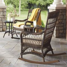 As soon as  our beautifully woven Providence Wicker Rocker arrives on a front porch or promenade, family and friends are sure to follow. The classic woven design is made for years of comfort and hours of conversation. Supple vinyl wicker won't splinter or unravel, and the strong aluminum frame's powdercoated finish resists corroding.All-weather vinyl wicker won't crack or splinterPowdercoated finishes resist corrodingStrong aluminum powdercoated frameOcean Grey and Ivory finishes ...