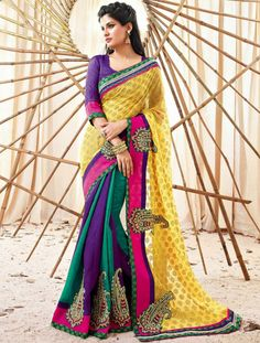 Like This Multicolored Saree..! Now Own It At Just Rs. 3,335. At http://goo.gl/nO397u