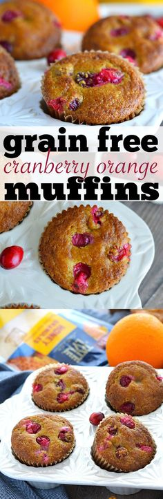 These Grain Free Cranberry Orange Muffins are a great grab-and-go breakfast for busy mornings. They're full of citrus flavor, and tart cranberries- the perfect winter wake-up! From What The Fork Food Blog | whattheforkfoodblog.com | Sponsored by Tate + Lyle.