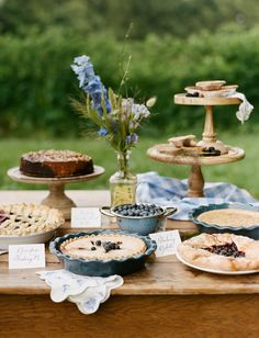 A dessert buffet for an outdoor garden party. Loving all those pies!