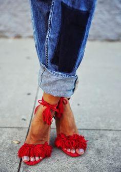Fashion Cognoscente: Who Wore It Best? Aquazzura Wild Thing Tassel Suede Fringe Sandals