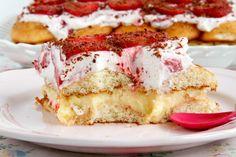 Tarta de fresas con nata y crema pastelera - MisThermorecetas Cupcake Cakes, Cupcakes, Cherry Desserts, Filipino Recipes, Filipino Food, Sweet Tooth, French Toast, Muffins, Sandwiches