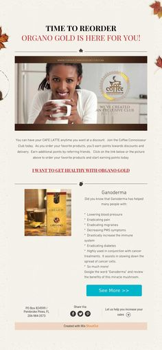 TIME TO REORDER ORGANO GOLD IS HERE FOR YOU!