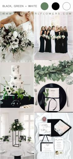 36 Black, Green and White Wedding Color Ideas for Spring I think that for a spring wedding, green, white and black would be absolutely gorgeous! Green is truly mother nature's favorite color, so it goes with pretty March Wedding Colors, Black And White Wedding Theme, Winter Wedding Colors, White Wedding Flowers, Black White Weddings, Black Wedding Decor, Winter Color, Emerald Wedding Colors, Popular Wedding Colors