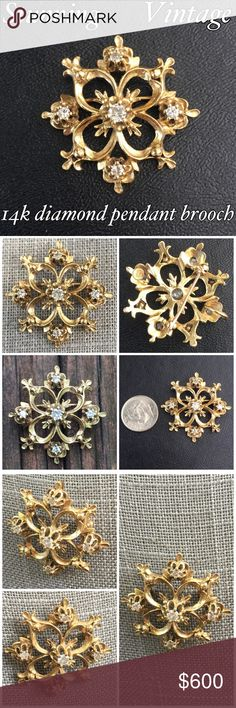 "14k Gold Vintage Diamond Brooch/ Pendant This is a Stunning Vintage 14k Yellow Gold Diamond Flower Brooch Pendant. Marked 14k CM/J. Measures 1.25"" x 1.25"". You can wear it as a brooch or a pendant! Beautifully detailed w/ 5 diamonds that total 0.50 ctw. Weighs 7.26 grams. This piece would make a wonderful gift for someone special in your life or buy it to add to your vintage collection. Thanks for looking. I ship same day. Please make REASONABLE offer using the offer button only. No low…"