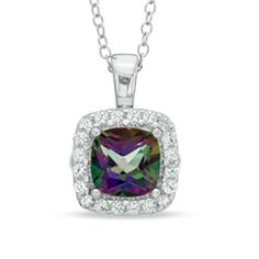 I've tagged a product on Zales: 7.0mm Mystic Fire® Topaz and Lab-Created White Sapphire Frame Pendant in Sterling Silver
