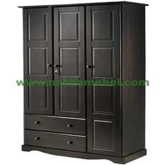 Solid Wood Grand Wardrobe& by Palace Imports & & Java & 4 Small Shelves, 1 Hanging Bar, 2 Drawers, 1 Lock, 2 Latches Included & Optional Additional Large Shelves Sold Separately & Requires Assembly.