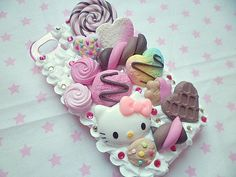 Decoden Kawaii Whipped Cream Candy Pastel Heart Chocolate Rainbow Hello Kitty Cookie Food iPhone 4/4s Cell Phone Case
