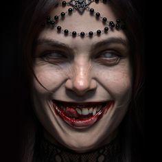 Scar Tattoo, Devil Tattoo, Girl Face, Woman Face, Monster Vampire, Angry Women, Halloween Face Makeup, Gothic Fantasy Art, Occult Art
