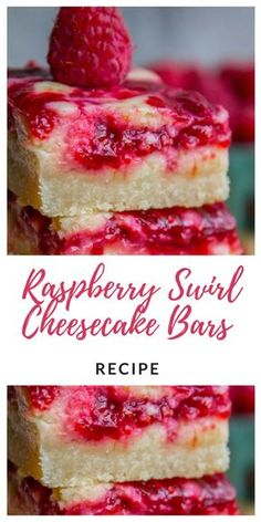 Slutty Cheesecake bars recipe with cream cheese, cherry filling, and a cookie crumble square really get around. Don't apologize when you ask for seconds (and the recipe) of this perfect cherry jubilee cheesecake bar dessert Köstliche Desserts, Dessert Recipes, Summer Desserts, Raspberry Swirl Cheesecake, Easy Raspberry Desserts, Desserts With Raspberries, Fresh Raspberry Recipes, Lemon Raspberry Cheesecake, Strawberry Brownies