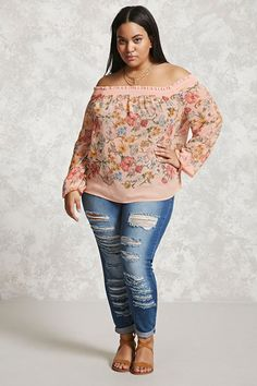 Forever 21+ - A semi-sheer woven top featuring an allover floral print, an off-the-shoulder neckline and long sleeves with a smocked design and ruffle trim, and a flowy silhouette.