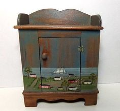 Janet Bailey - hand painted New England style cabinet; sold on ebay for $71