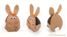 Plot this cute rabbit as Easter wrapping - Easter rabbit Paashaas Hoppel - Happy Easter, Easter Bunny, Easter Eggs, Easter Crafts For Kids, Diy For Kids, Plotter Silhouette Cameo, Diy And Crafts, Paper Crafts, Printable Box