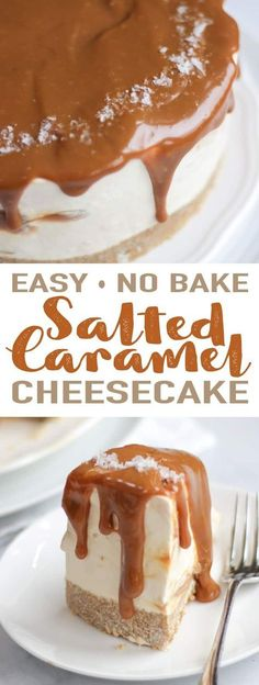 This Salted Caramel Cheesecake recipe is a super easy to make, no bake cheesecake recipe. A delicious dessert, light and creamy with the rich flavours of salted caramel. A buttery biscuit base topped with whipped cream cheese and salted caramel. Cupcake Recipes, Cookie Recipes, Cupcake Cakes, Dessert Recipes, Baking Cupcakes, Cake Cookies, Salted Caramel Cheesecake, Baked Cheesecake Recipe, Salted Caramels