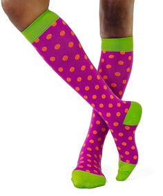 Take a look at this Purple & Orange Polka Dot Poppy 15-20 mmHg Compression Socks today!