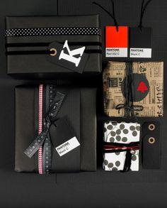 black pantone-inspired gift wrap