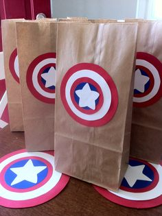 These Captain America Inspired Goody Bags are made from paper lunch bags (found at most grocery stores) and cardstock.