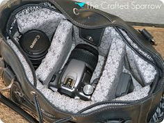 I made this, super fun and easy it was under $30.00   The Crafted Sparrow: DIY Camera Bag Tutorial - I made my OWN!