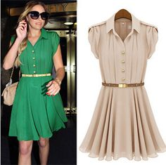 20132013 summer new lapel single-breasted tunic dress casual pleated solidFree Shipping Price    US $ 18.73