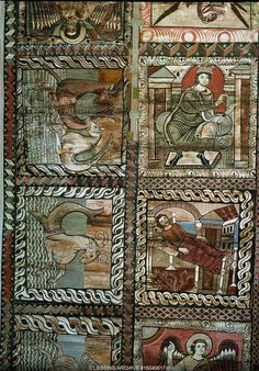 King David (top); Saint Joseph's doubts (bottom).   The panels forming the border of the ceiling   of St. Martin's church, Zillis, show water and   fantastic water creatures, just as medieval maps   show the earth surrounded by the sea.   1109-1114