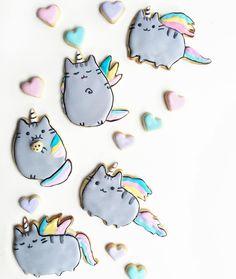 rainbow pusheen sugar cookies