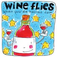 Vrolijke fles wijn deelt wijn uit.- Greetz