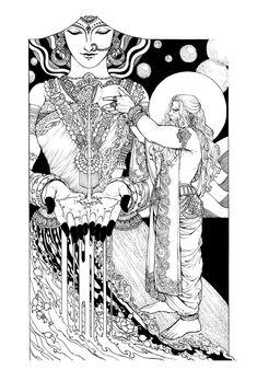 Krishna Hindu, Mandala Art Lesson, Nataraja, Tanjore Painting, Madhubani Art, Indian Folk Art, Beautiful Fantasy Art, Hindu Art, Art Drawings Sketches