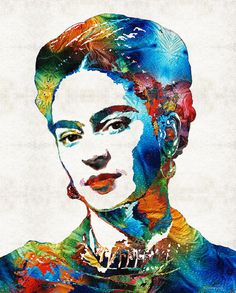 Frida Kahlo Art Print from Painting Colorful Famous Artist Icon Historical People CANVAS Ready To Hang Large Artwork Mexico Mexican Artist