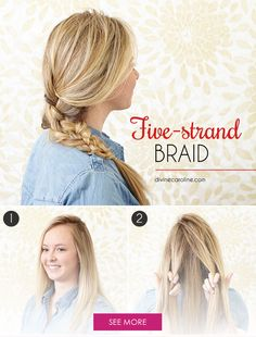 If you're getting tired of the same old three-strand braid, give this five-strand braid a try. It's not nearly as complicated as it looks; you just weave strands of your hair together! Girl Hairstyles, Braided Hairstyles, Five Strand Braids, Cabello Hair, Hair Hacks, Hair Tips, Hair Today, Hair Inspiration, Tired